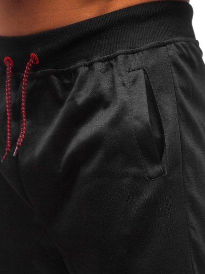 Čierne pánske teplákové kraťasy BOLF 81020