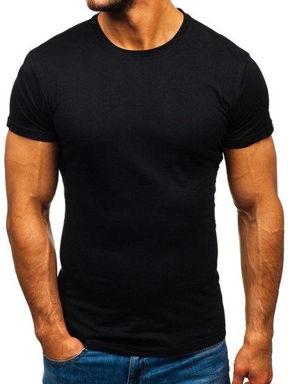 Čierne pánske tričko bez potlače BOLF S02