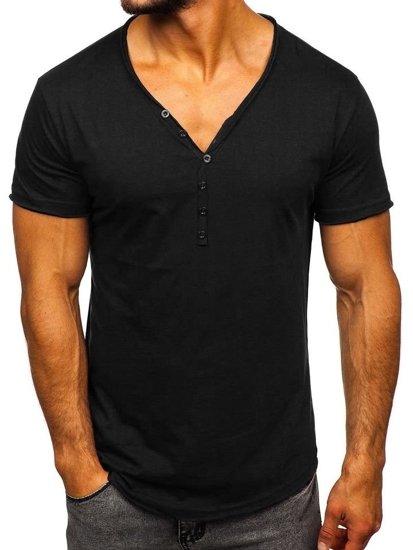 Čierne pánske tričko bez potlače Bolf 4049