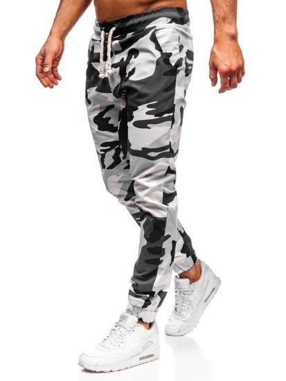 Čierno-bielo maskáčové pánske joggery Bolf 0367