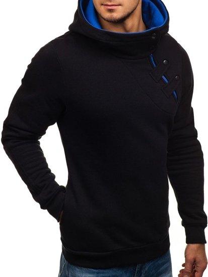 Čierno-kobaltová pánska mikina s kapucňou BOLF 06S