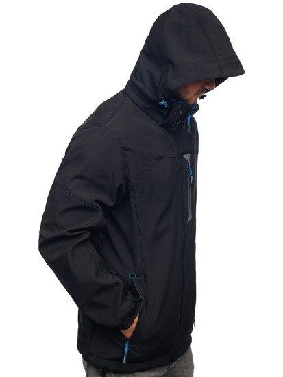 Čierno-modrá pánska softshellová bunda Bolf 12262