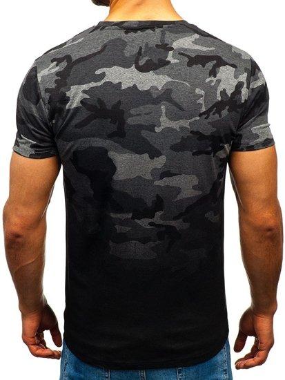 Grafitové maskáčové pánske tričko s potlačou BOLF S808