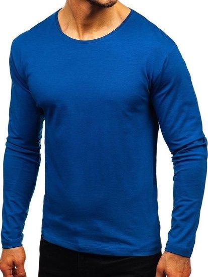 Indigo pánske tričko s dlhými rukávmi bez potlače BOLF 172007