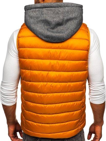 Kamelová pánska prešívaná vesta s kapucňou Bolf B2901