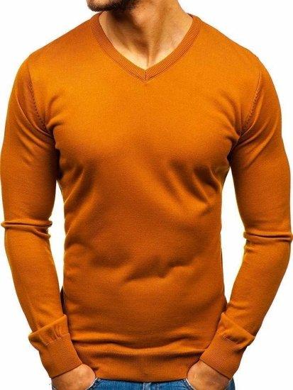 Kamelový pánsky sveter s výstrihom do V Bolf2200