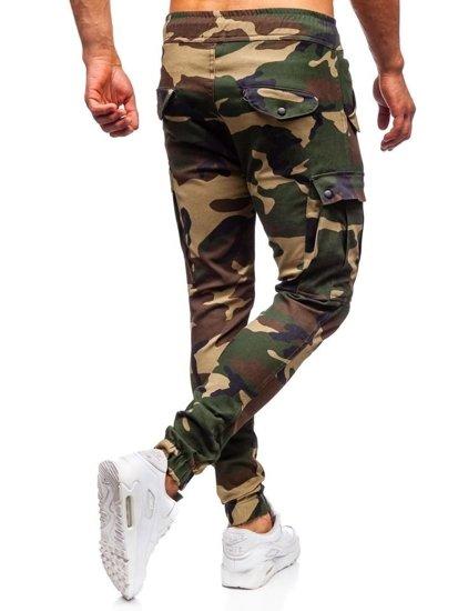 Khaki maskáčové pánske kapsáčové joggery Bolf 1005