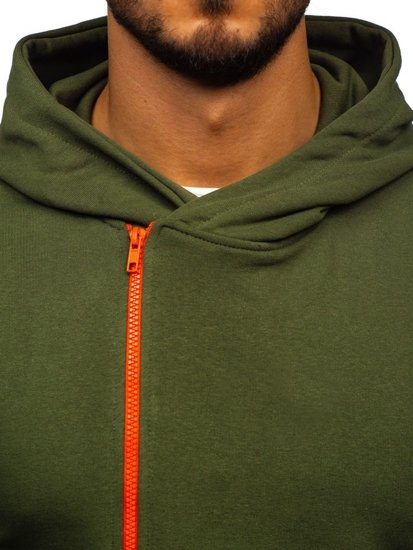 Khaki pánska mikina s kapucňou a potlačou Bolf 01