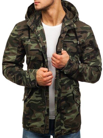 Maskáčovo-khaki pánska prechodná bunda parka BOLF 5104
