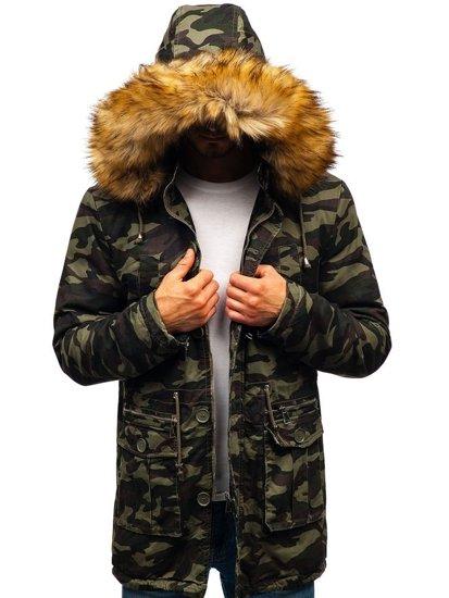 Maskáčovo-zelená pánska zimná bunda parka BOLF 88620