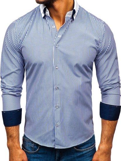Modrá pánska elegantá košeľa s dlhými rukávmi BOLF 0909-A