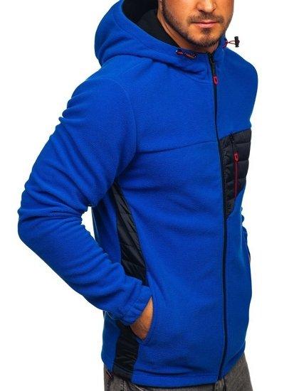 Modrá pánska flísová bunda s kapucňou Bolf YL011