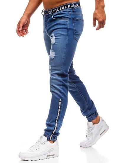 Modré pánske riflové jogger nohavice BOLF 2042