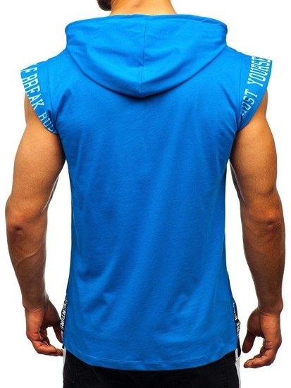 Modré pánske tričko s potlačou a kapucňou Bolf 19100