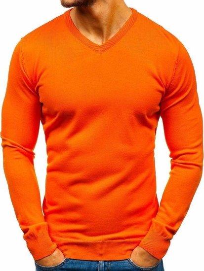 Oranžový pánsky sveter s výstrihom do V BOLF 2200