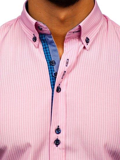 Ružová pánska prúžkovaná košeľa s dlhými rukávmi Bolf 9714