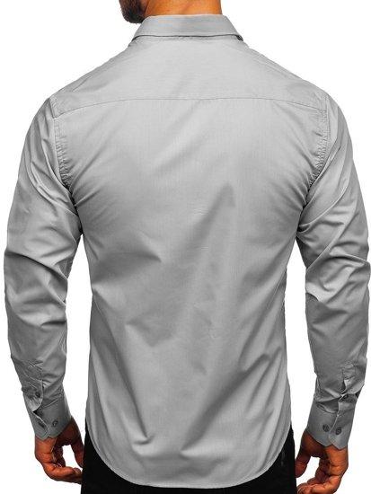 Šedá pánska elegantná košeľa s dlhými rukávmi BOLF 6944