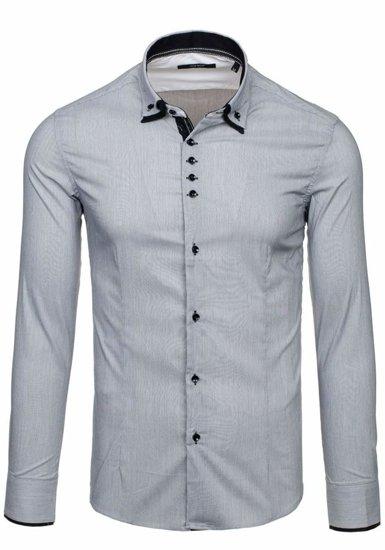 Šedá pánska elegantná košeľa s dlhými rukávmi BOLF 7188