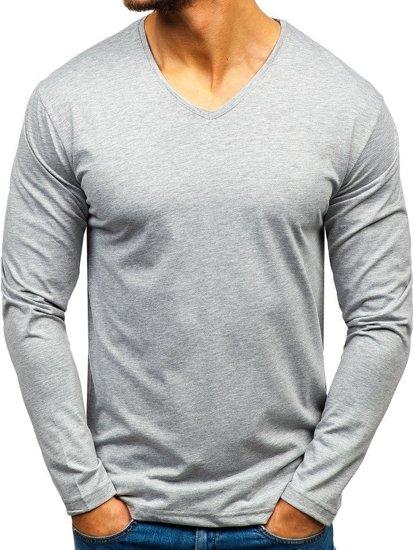 Šedé pánska tričko s dlhými rukávmi bez potlače BOLF 172008