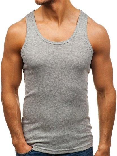 Šedé pánske tričko bez potlače BOLF C10013-A