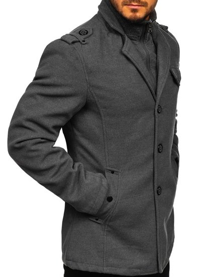 Šedý pánsky plášť BOLF 8853