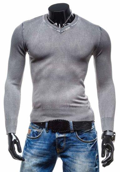 Šedý pánsky sveter s výstrihom do V BOLF 6029
