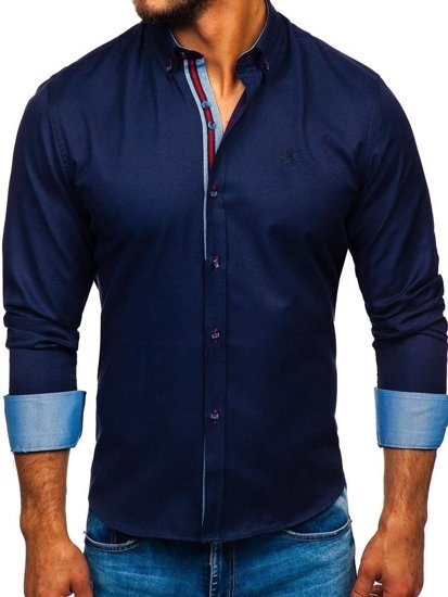 Tmavomodrá pánska elegantá košeľa s dlhými rukávmi BOLF 5801-A