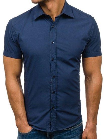 Tmavomodrá pánska elegantá košeľa s krátkymi rukávmi BOLF 7501