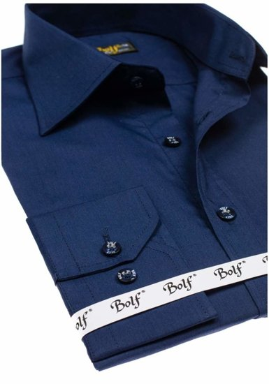 Tmavomodrá pánska elegantná košeľa s dlhými rukávmi BOLF 1703