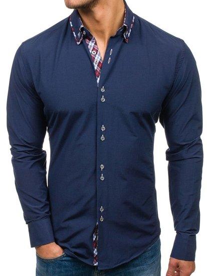 Tmavomodrá pánska elegantná košeľa s dlhými rukávmi BOLF 4704