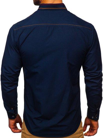 Tmavomodrá pánska elegantná košeľa s dlhými rukávmi BOLF 4707