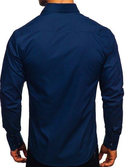 Tmavomodrá pánska elegantná košeľa s dlhými rukávmi BOLF 6944