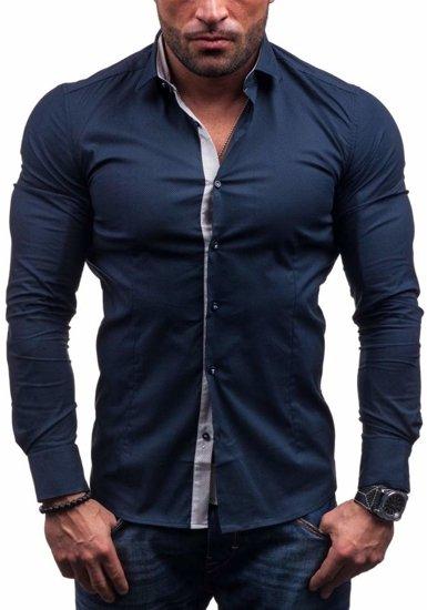 Tmavomodrá pánska elegantná košeľa s dlhými rukávmi BOLF 7185