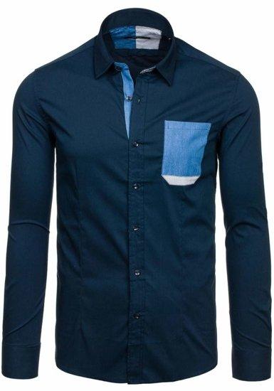 Tmavomodrá pánska elegantná košeľa s dlhými rukávmi BOLF 7192
