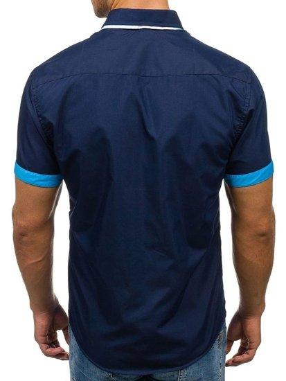 Tmavomodrá pánska elegantná košeľa s krátkymi rukávmi Bolf 2926-A