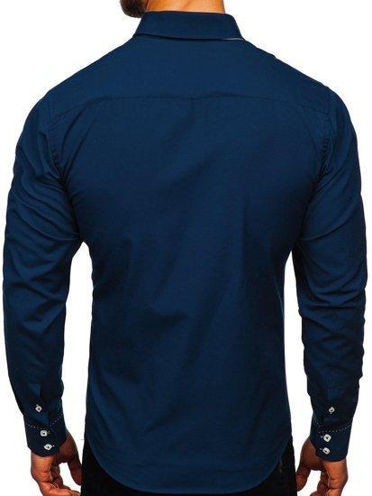 Tmavomodrá pánska košeľa s dlhými rukávmi BOLF 1721-1