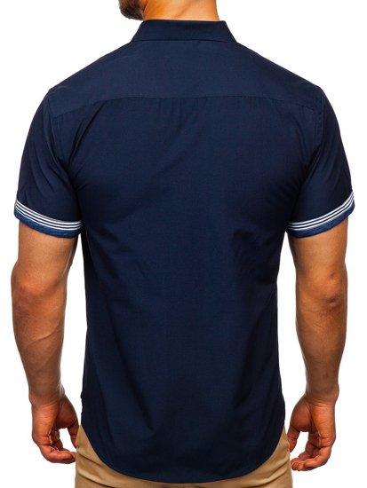 Tmavomodrá pánska košeľa s krátkymi rukávmi BOLF 2911