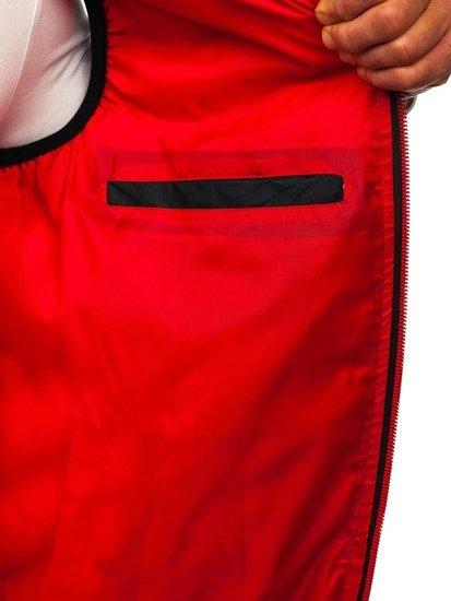 Tmavomodrá pánska prešívaná vesta s kapucňou BOLF 5801