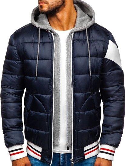 Tmavomodrá pánska športová zimná bunda Bolf  JK395