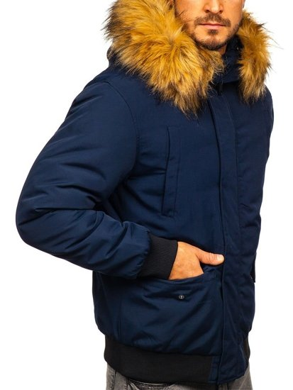 Tmavomodrá pánska zimná bunda Bolf 2019