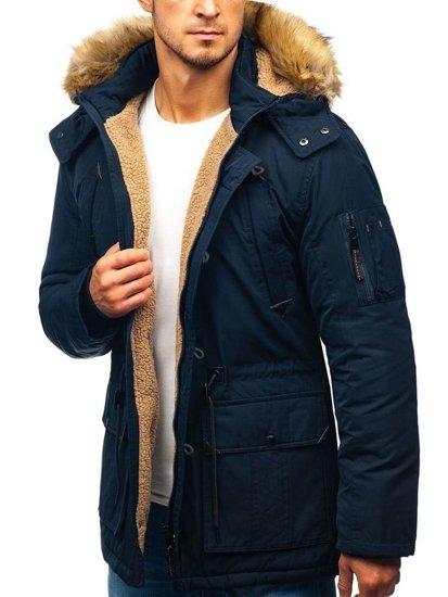 Tmavomodrá pánska zimná bunda parka BOLF 1071