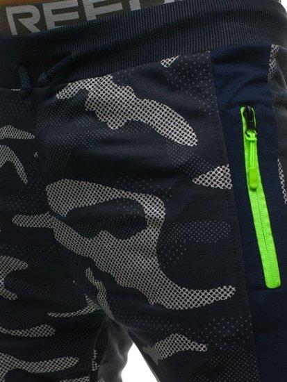Tmavomodré maskáčové pánske tepláky Bolf ML225