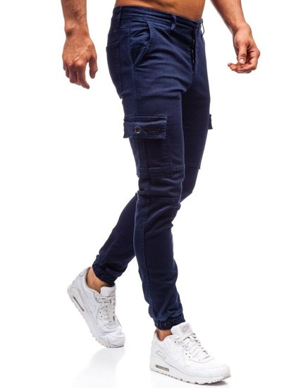 Tmavomodré pánske jogger nohavice BOLF 2039