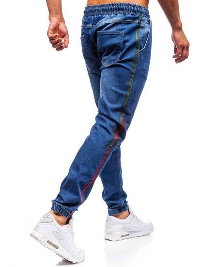 Tmavomodré pánske riflové jogger nohavice BOLF 2053