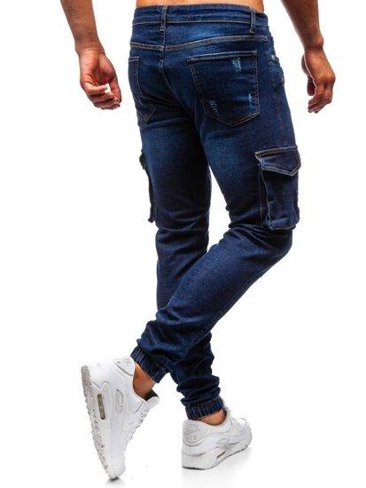 Tmavomodré pánske riflové joggery BOLF 3002