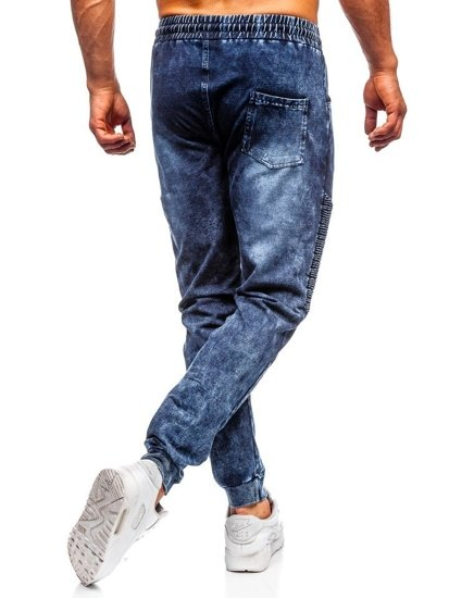 Tmavomodré pánske rifľové joggery  Bolf KK1037