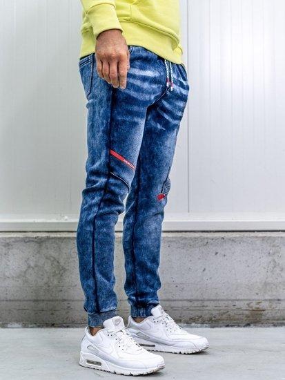 Tmavomodré pánske rifľové joggery  Bolf KK1060