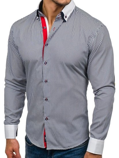 Tmavomodro-biela pánska elegantná prúžkovaná košeľa BOLF 2790