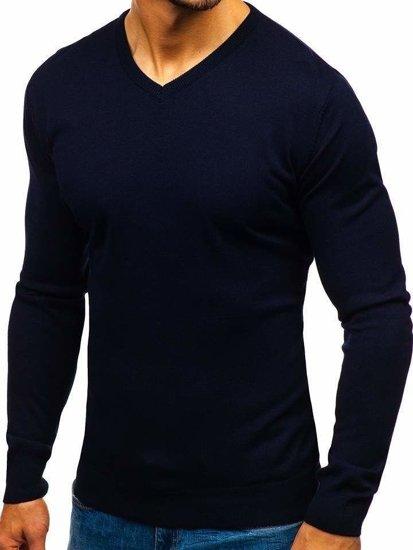 Tmavomodrý pánsky sveter s výstrihom do V BOLF 2200