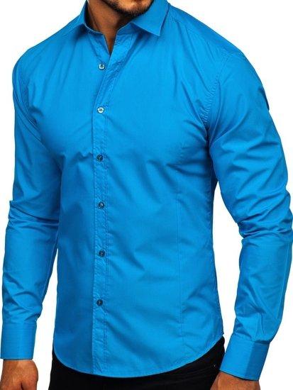 4453878a9fcd Tyrkysová pánska elegantná košeľa s dlhými rukávmi BOLF 1703